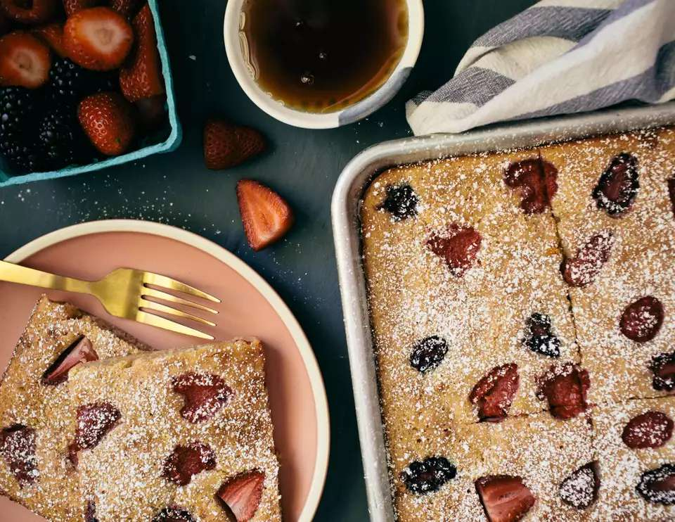 Triple Berry Sheet Pan Pancakes