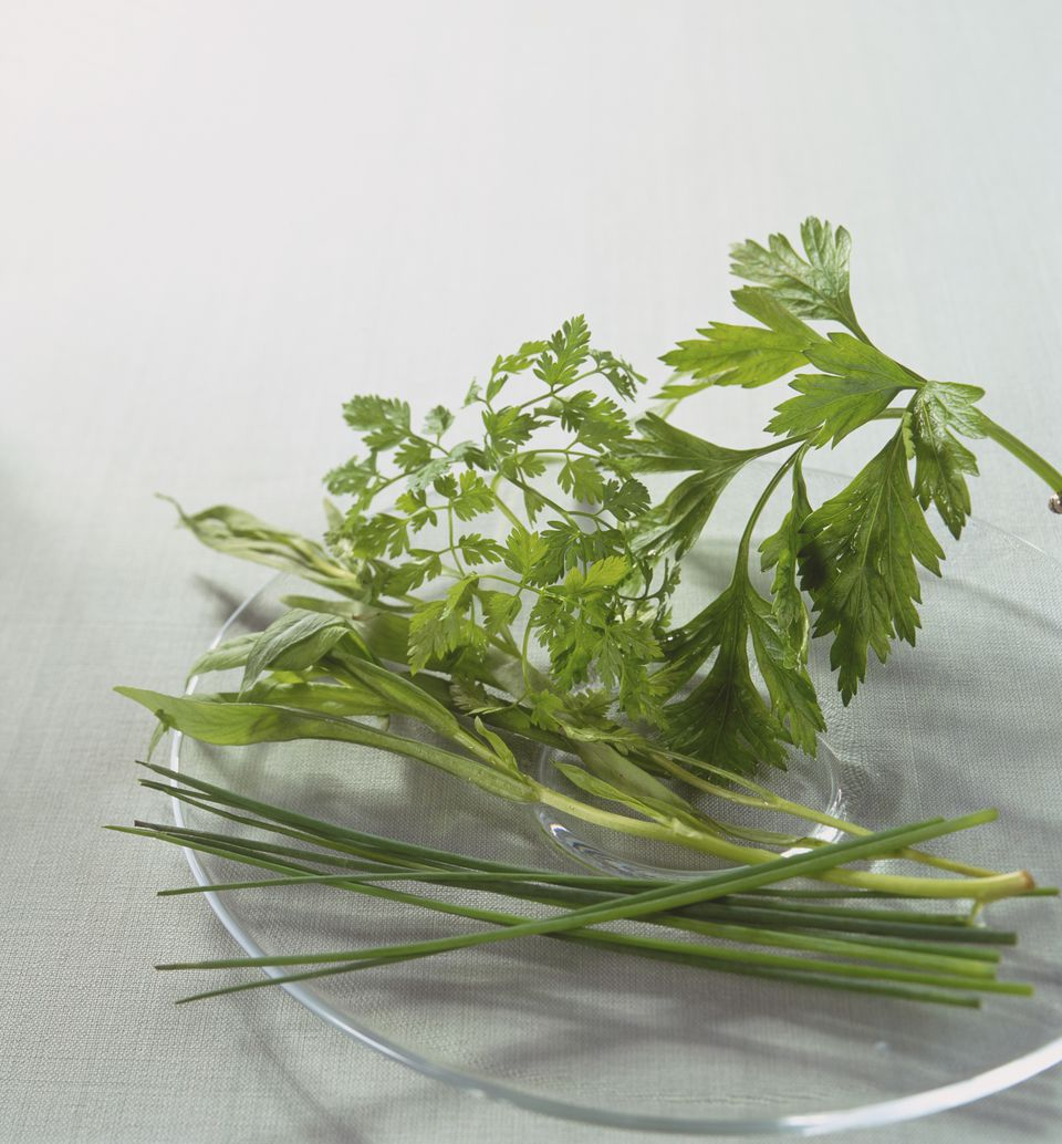 Finese herbs on a glass plate