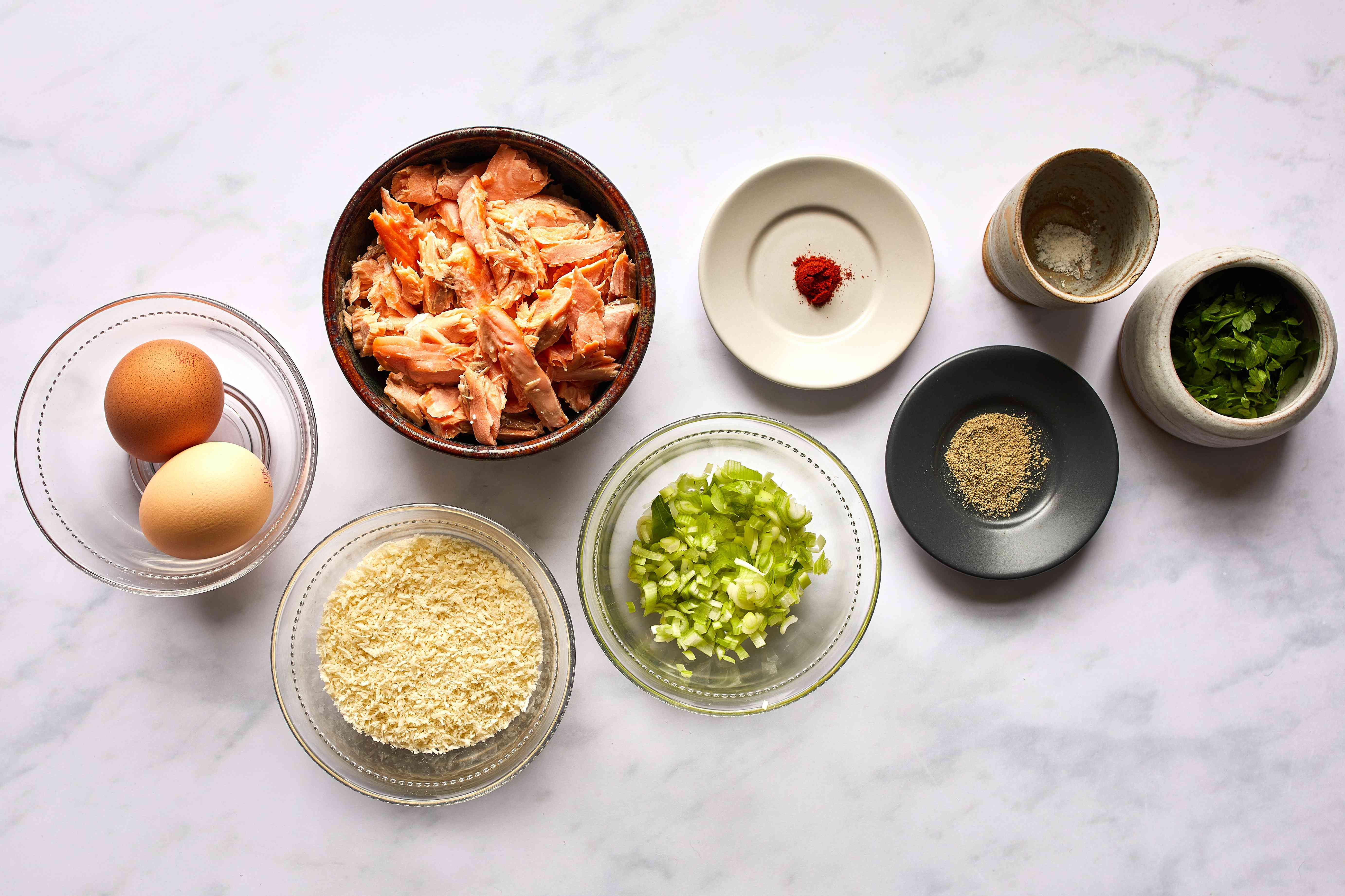 Ingredients for panko-crusted salmon cakes