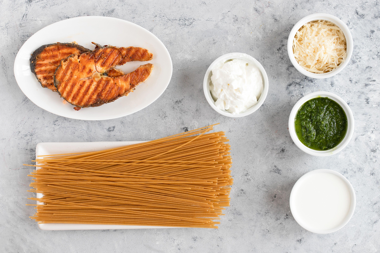 Ingredients for pesto salmon pasta