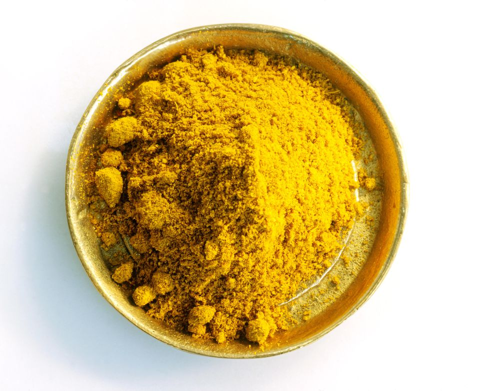Curry powder in metal dish