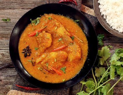 Bengali Fish Curry (Doi Maach) cooked in yogurt gravy,top down view