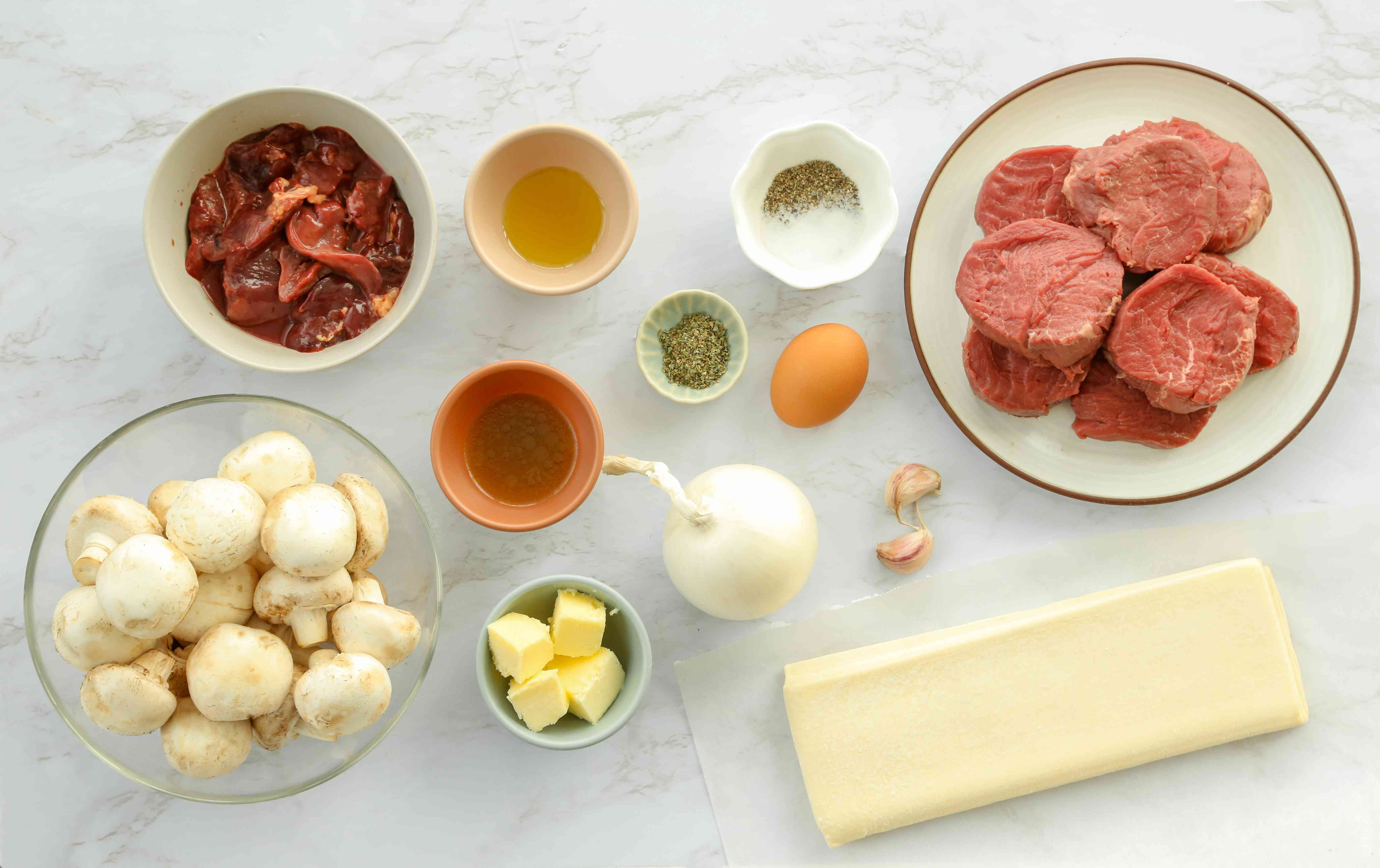 Easy beef Wellington ingredients