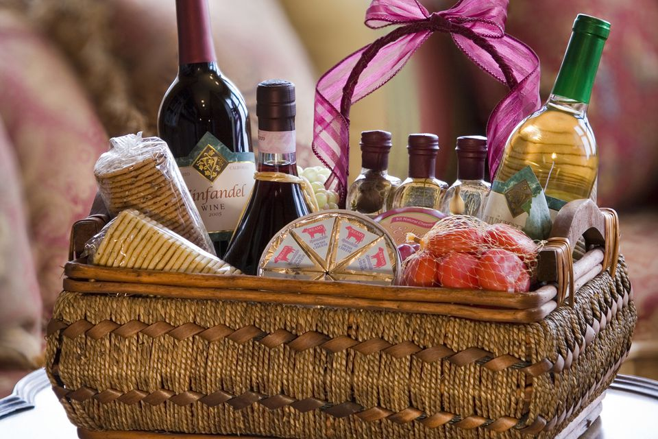 Gift basket filled with cocktail fixings