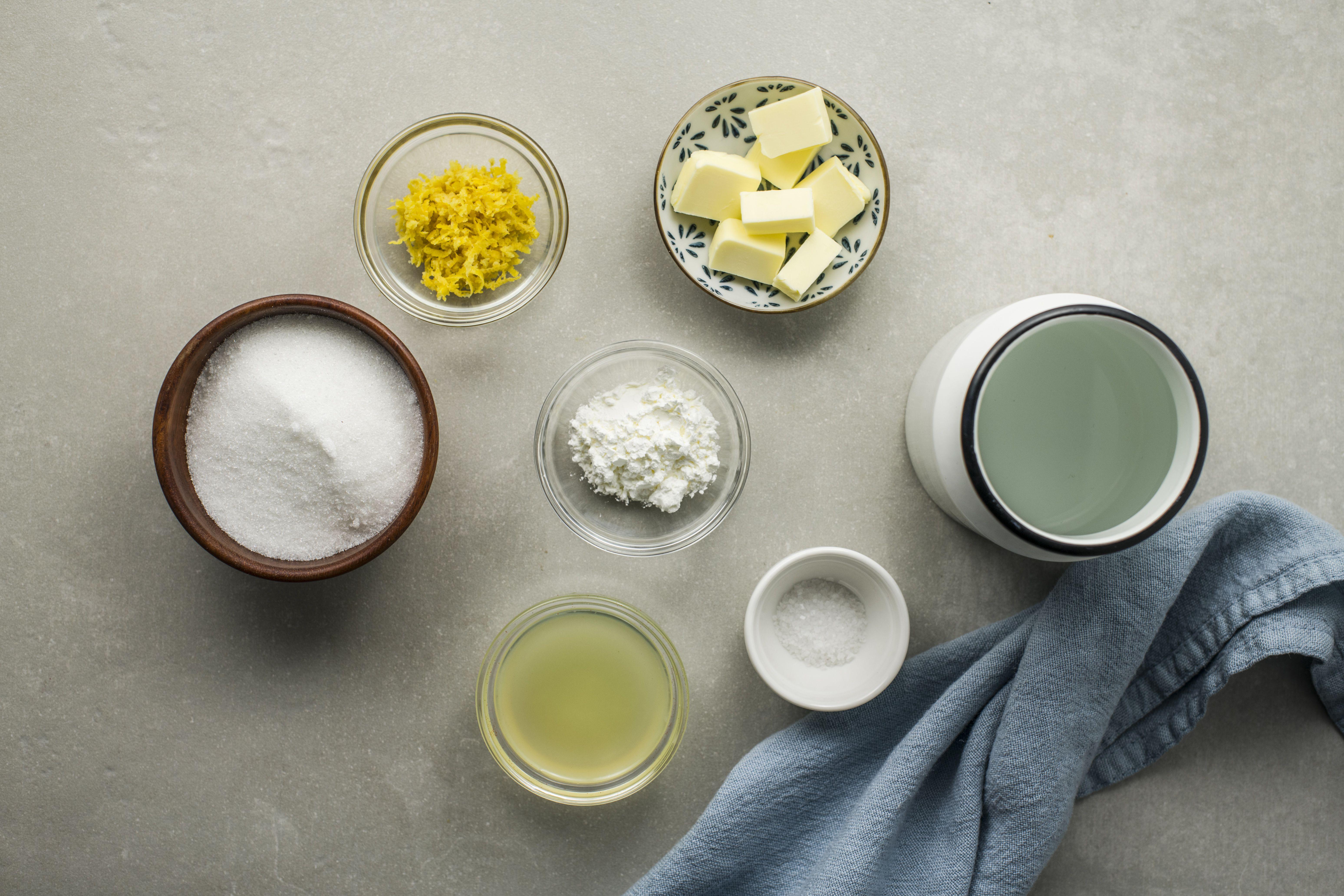 Ingredients for lemon dessert sauce