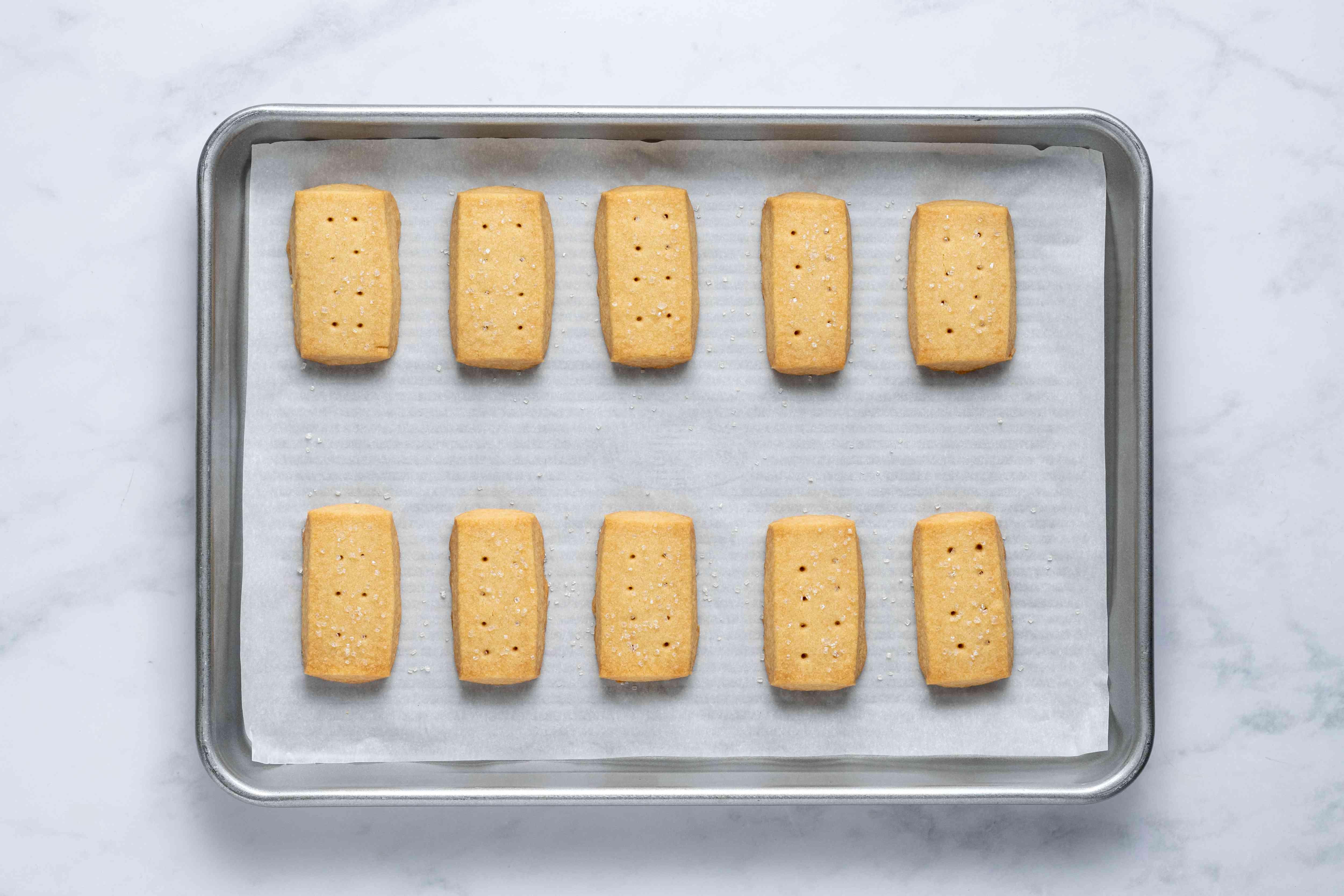 Brown Sugar Shortbread Cookies on a baking sheet