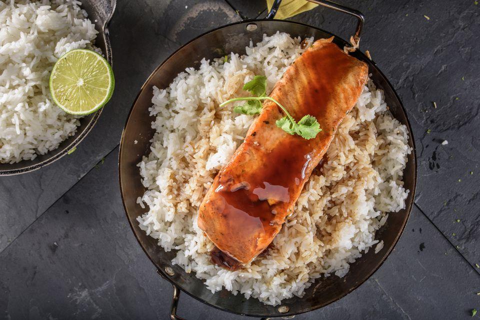 Delicious Salmon Steak and rice with Teriyaki Sauce