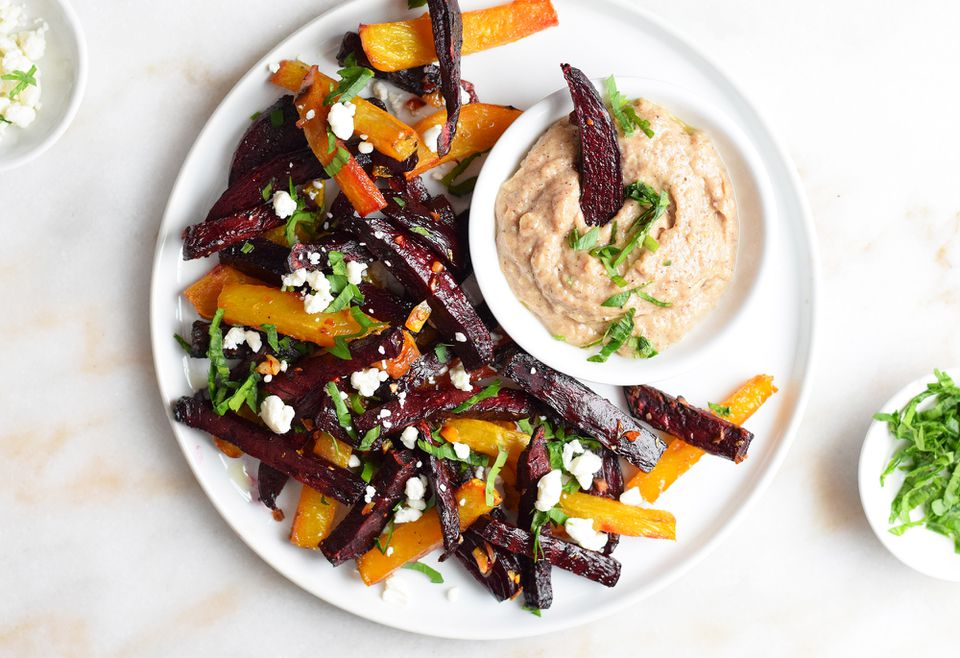 beet fries on a plate with maple pecan aioli