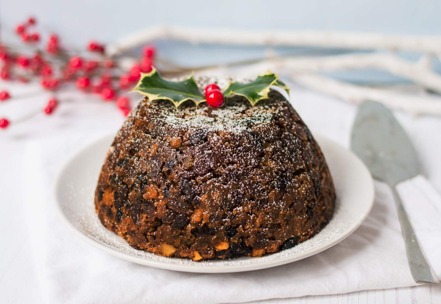Traditional Christmas pudding, ready to serve