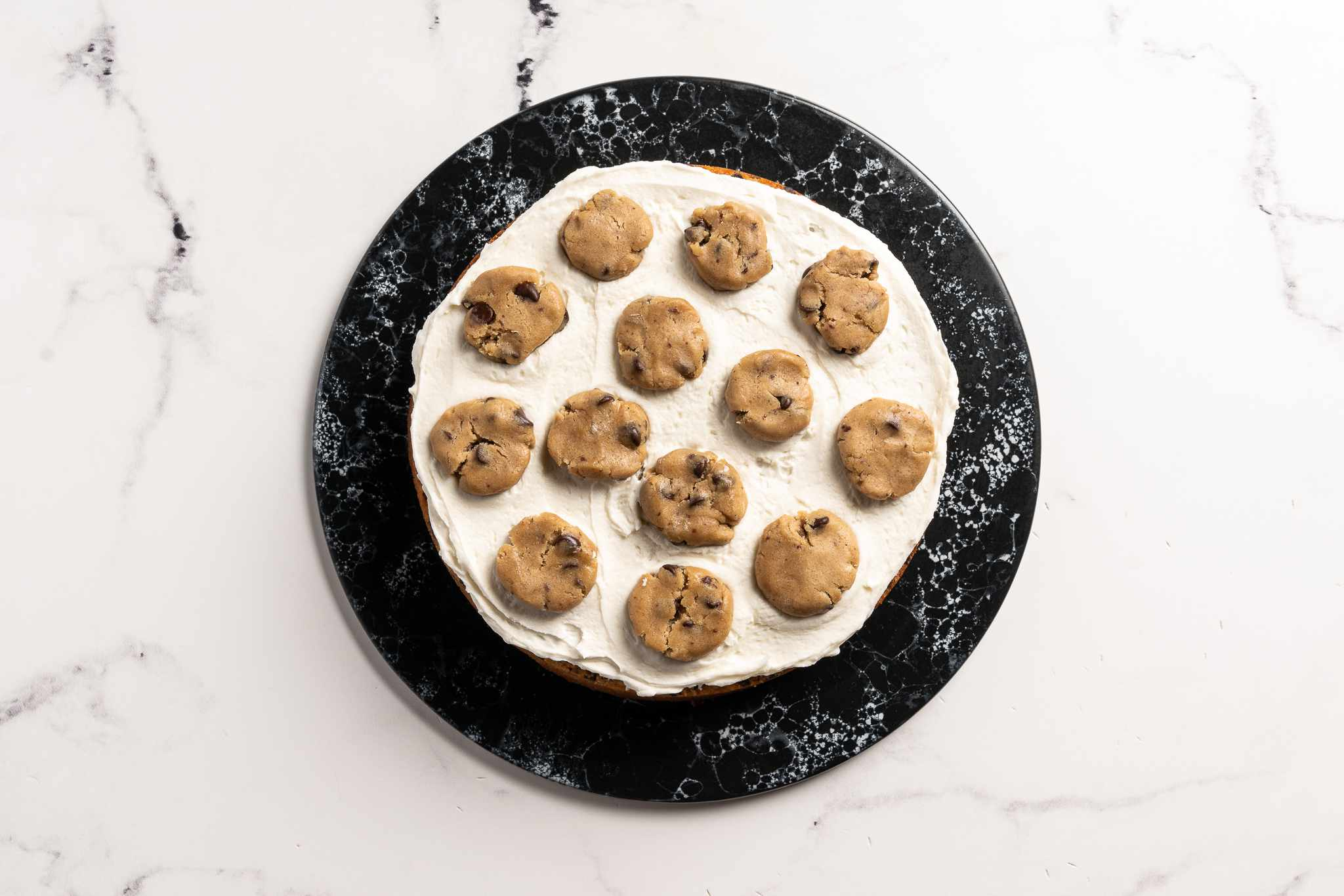 Assembling cookie dough cake