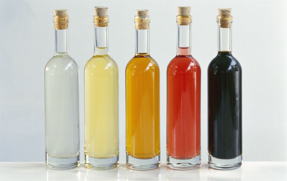 Assorted vinegars in bottles