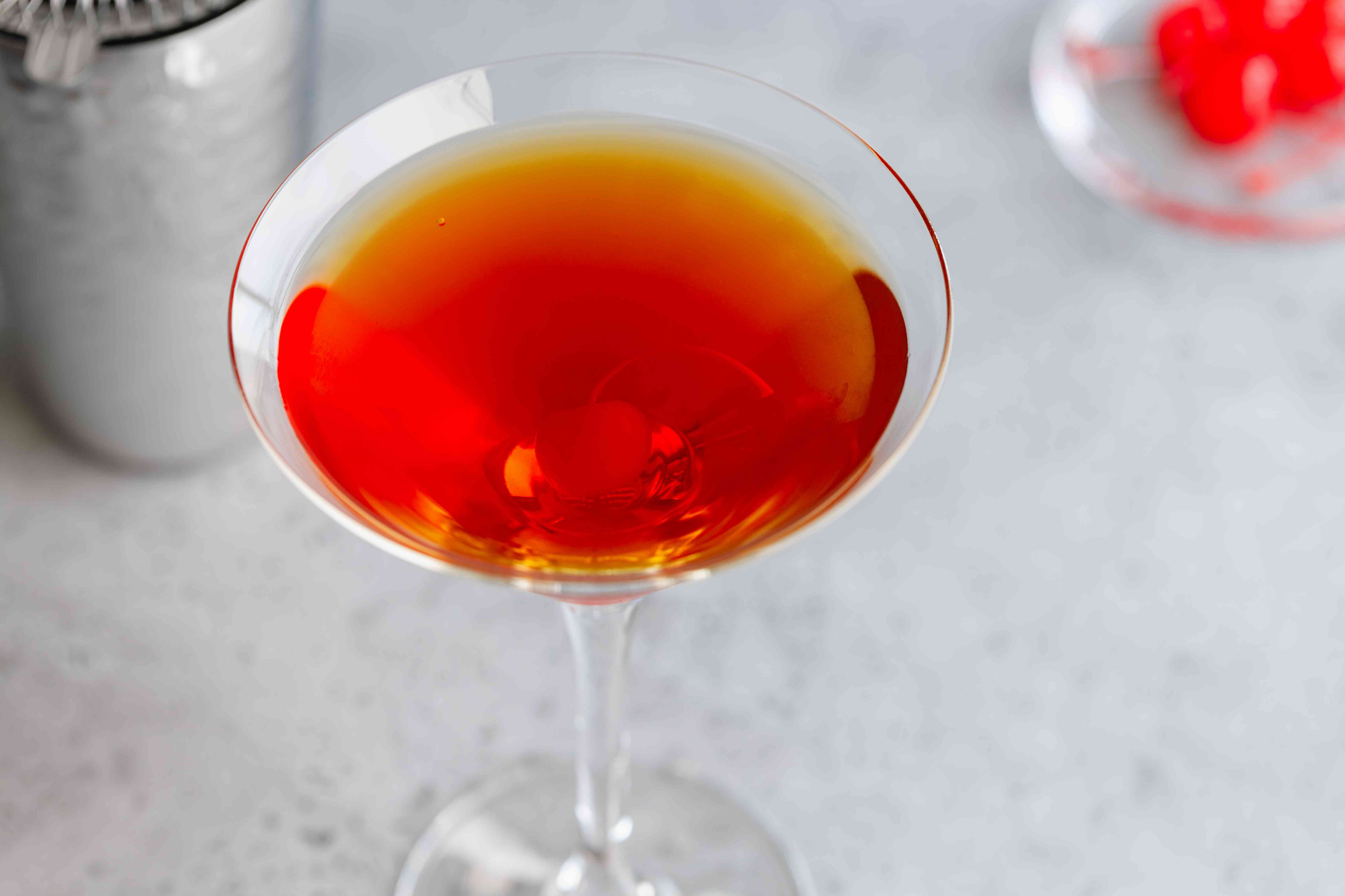 Perfect Manhattan cocktail with Knob Creek bourbon whiskey