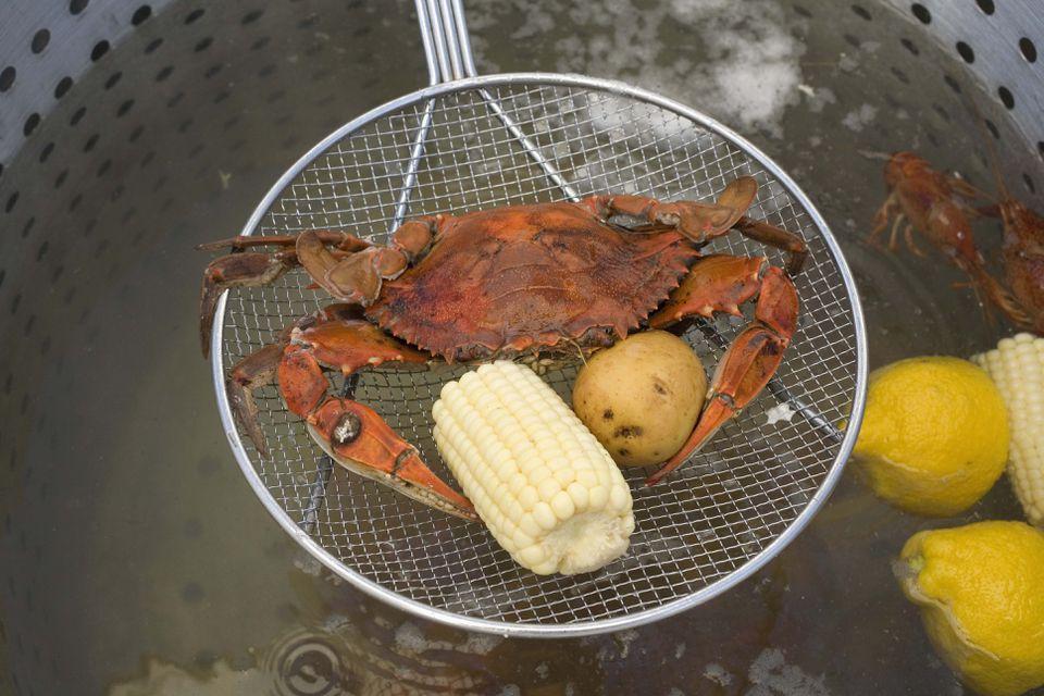 Crab, corn, and potato at crab boil