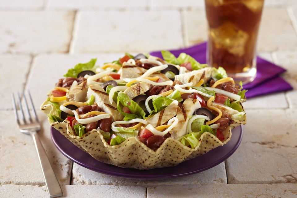 Grilled Chicken Tostada with Soda & Fork