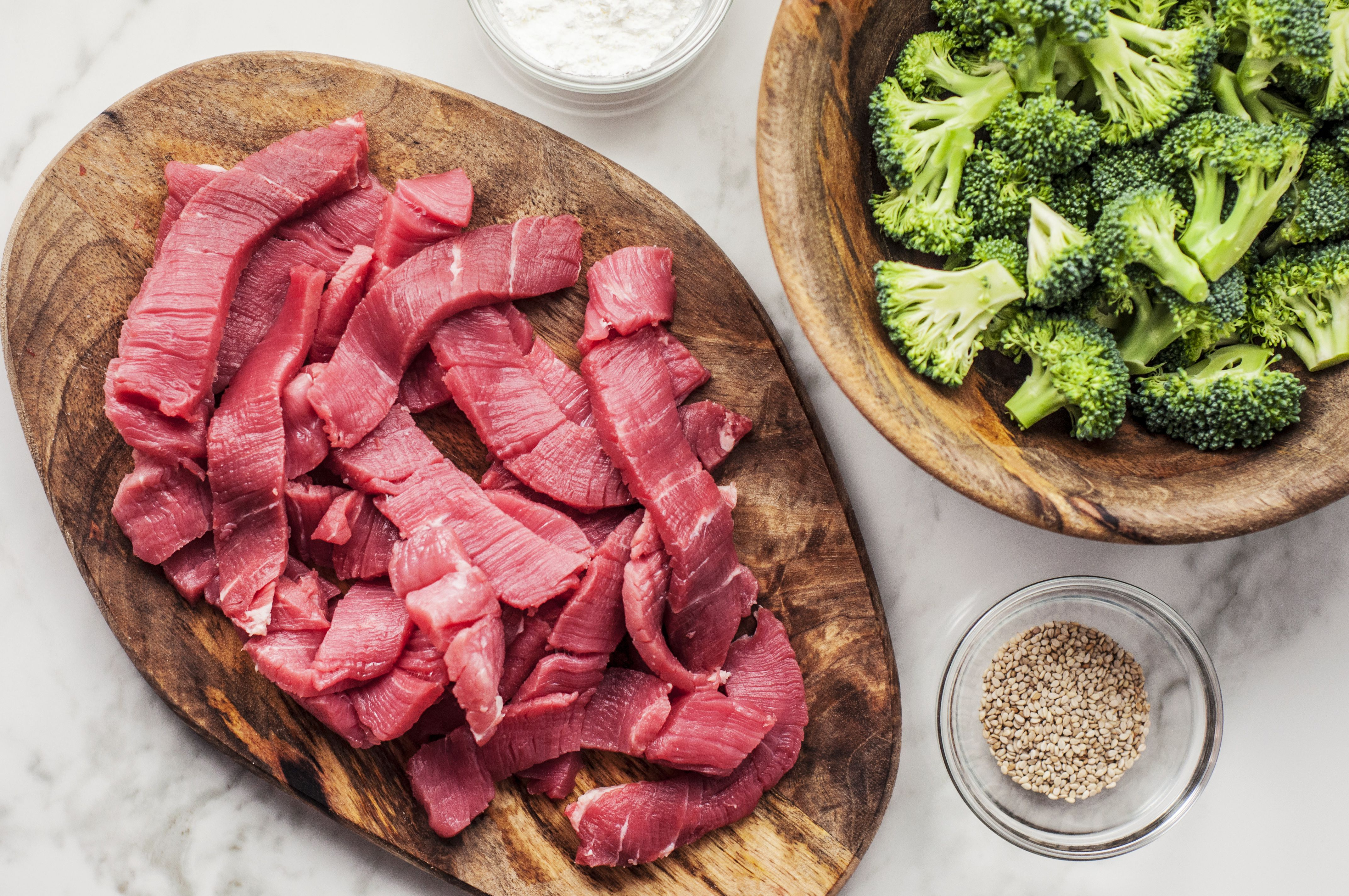 Sliced sirloin strips and broccoli florets