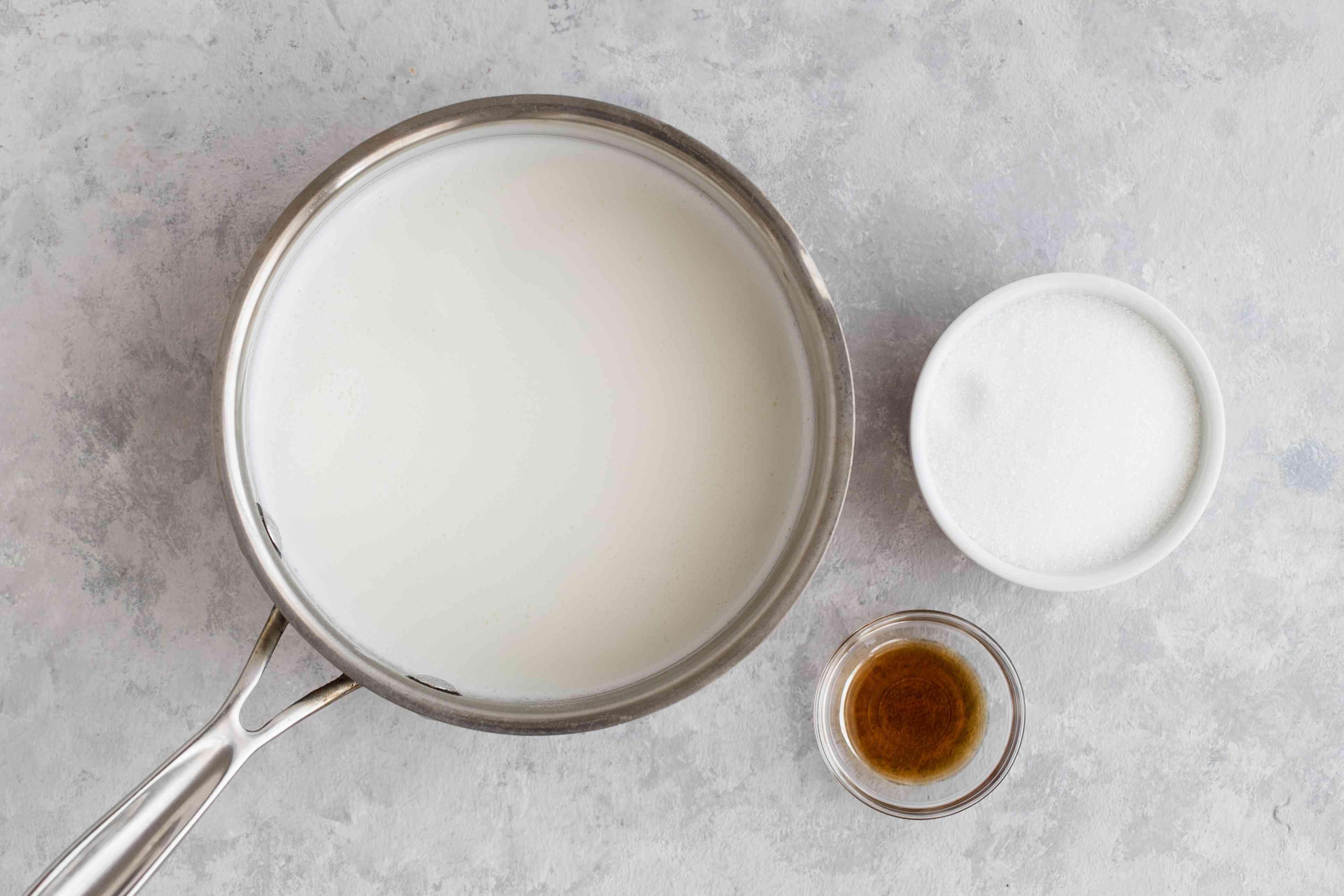 Dissolve sugar in milk