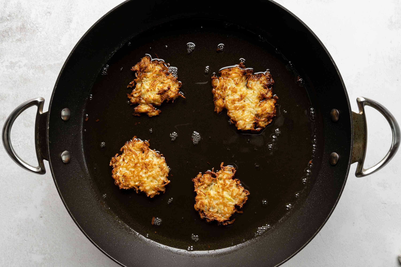 Kohlrabi Fritters cooking in pan