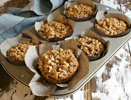 Banana Tahini Baked Oatmeal Muffins