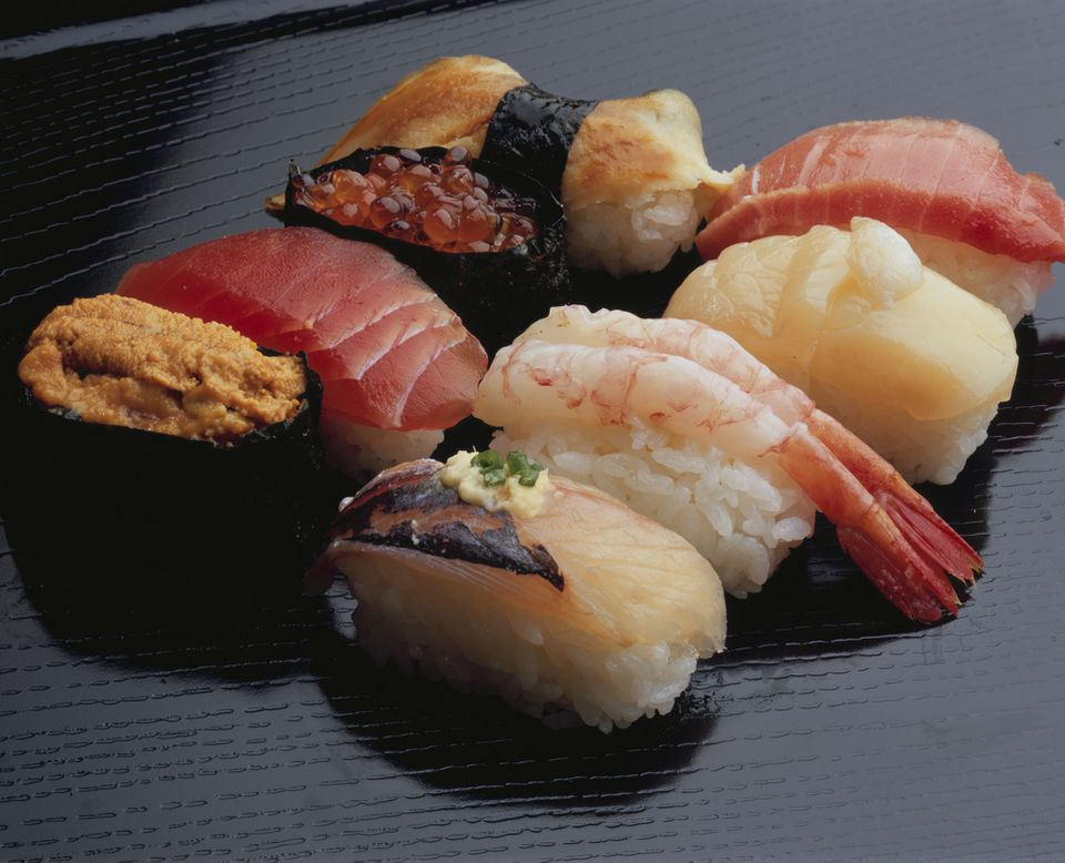 An assortment of the various types of nigiri sushi