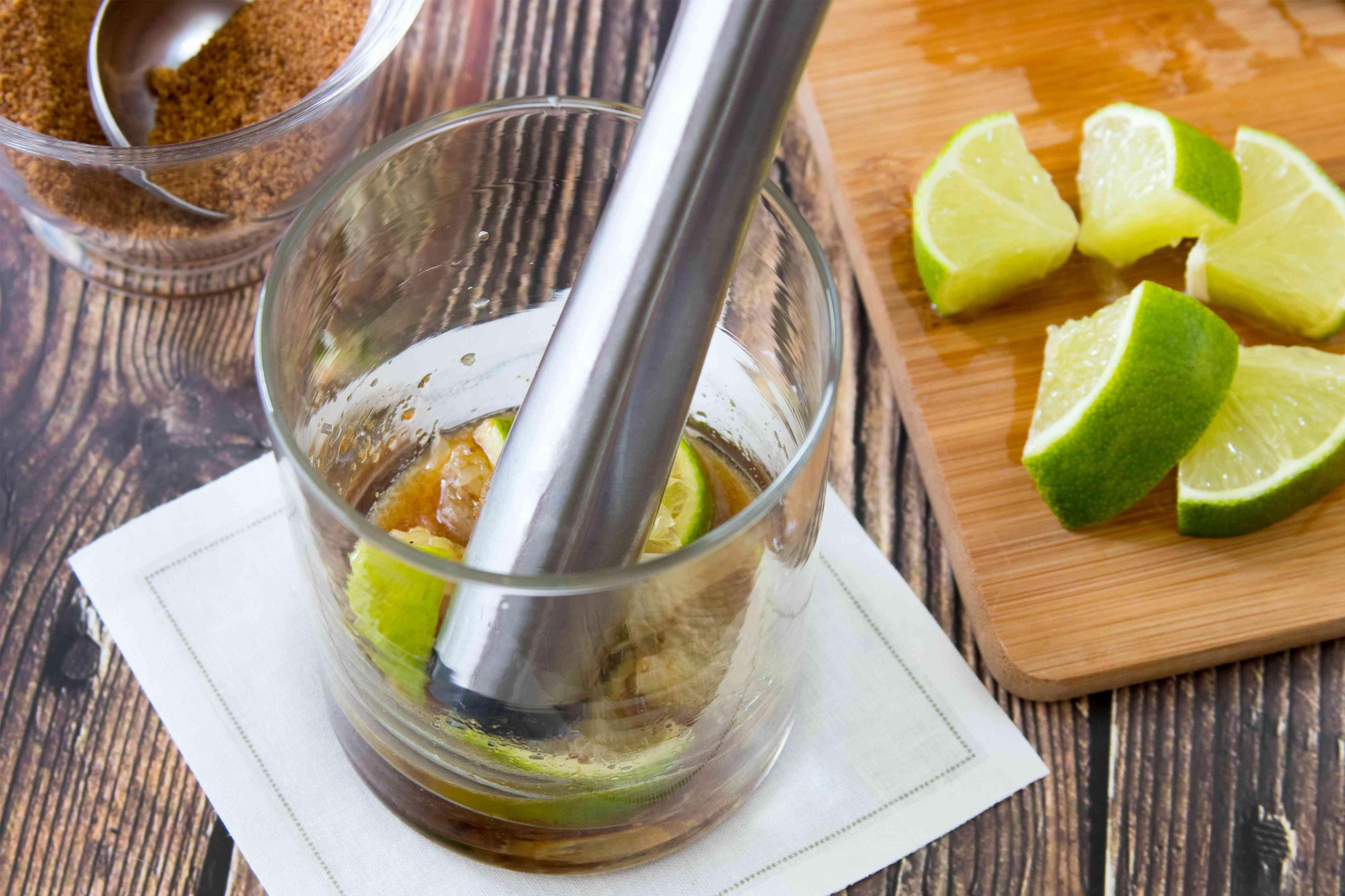 Mixing a Caipiroska Cocktail