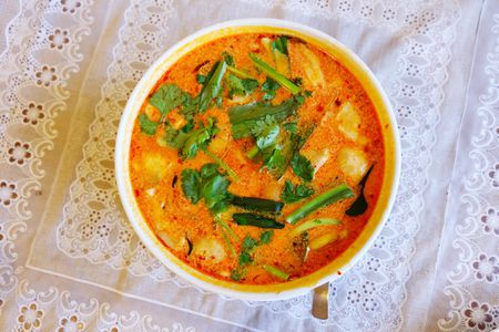 Vegetarian Thai Tom Yum Soup Hot And Sour Soup Recipe