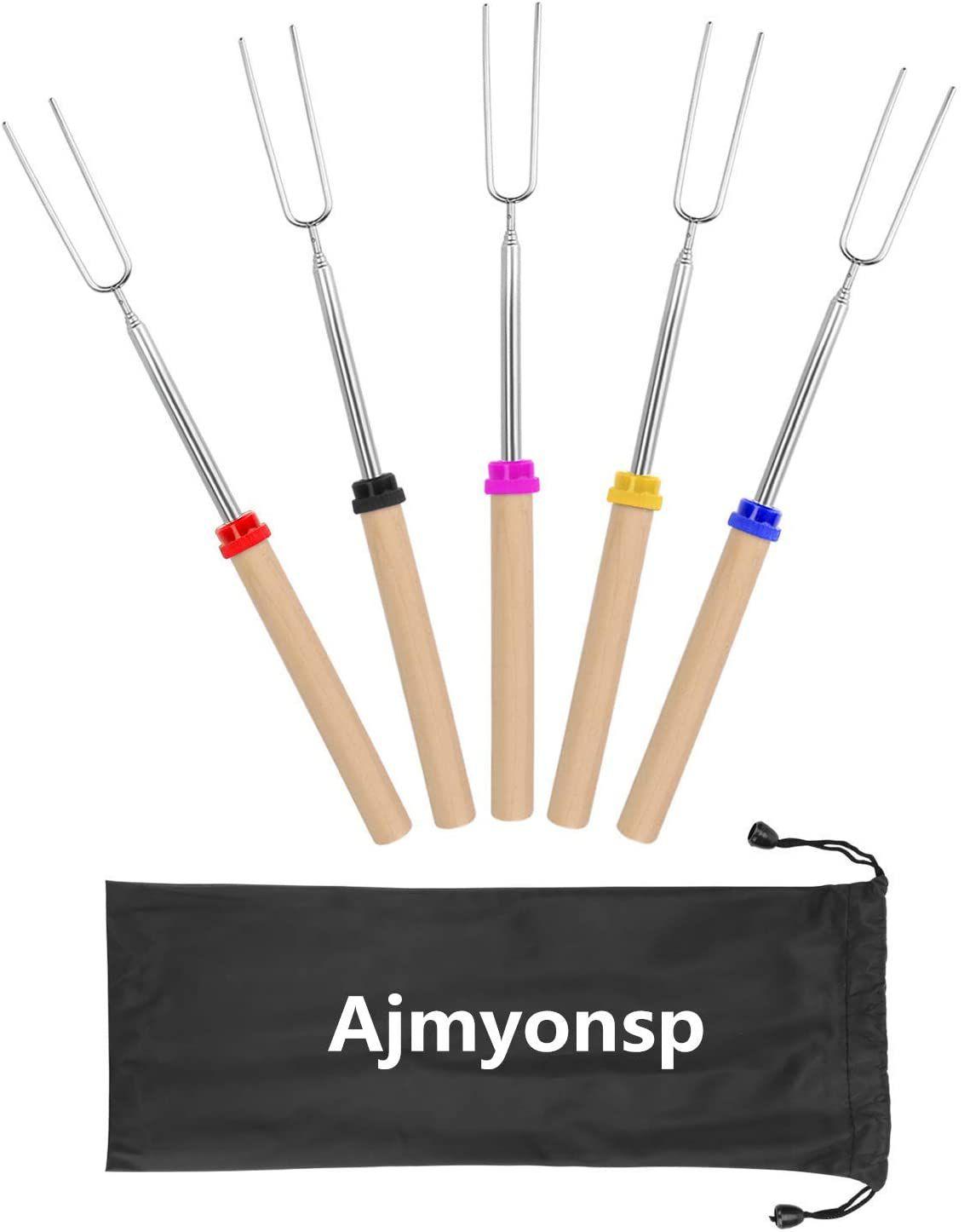 Ajmyonsp Marshmallow Roasting Sticks with Wooden Handle