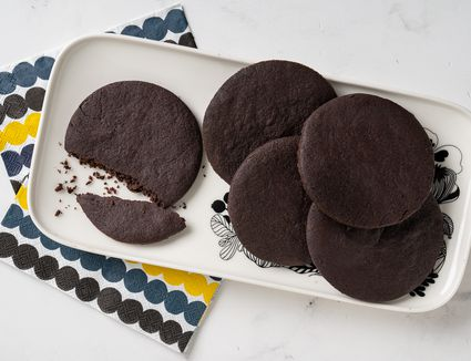 Chocolate wafer cookies on a serving tray