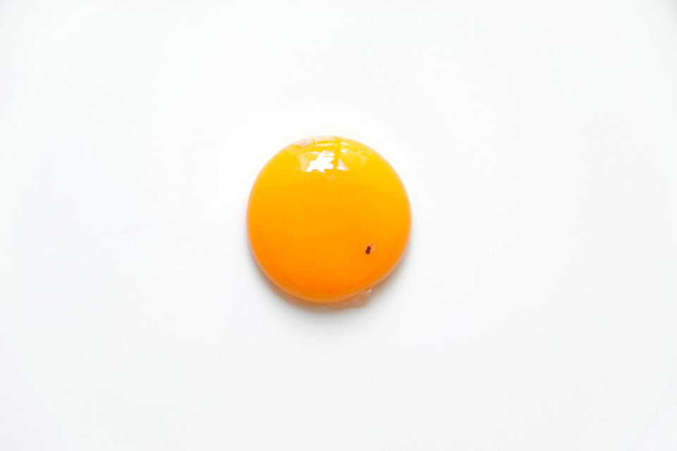 Raw chicken egg yolk with blood spot