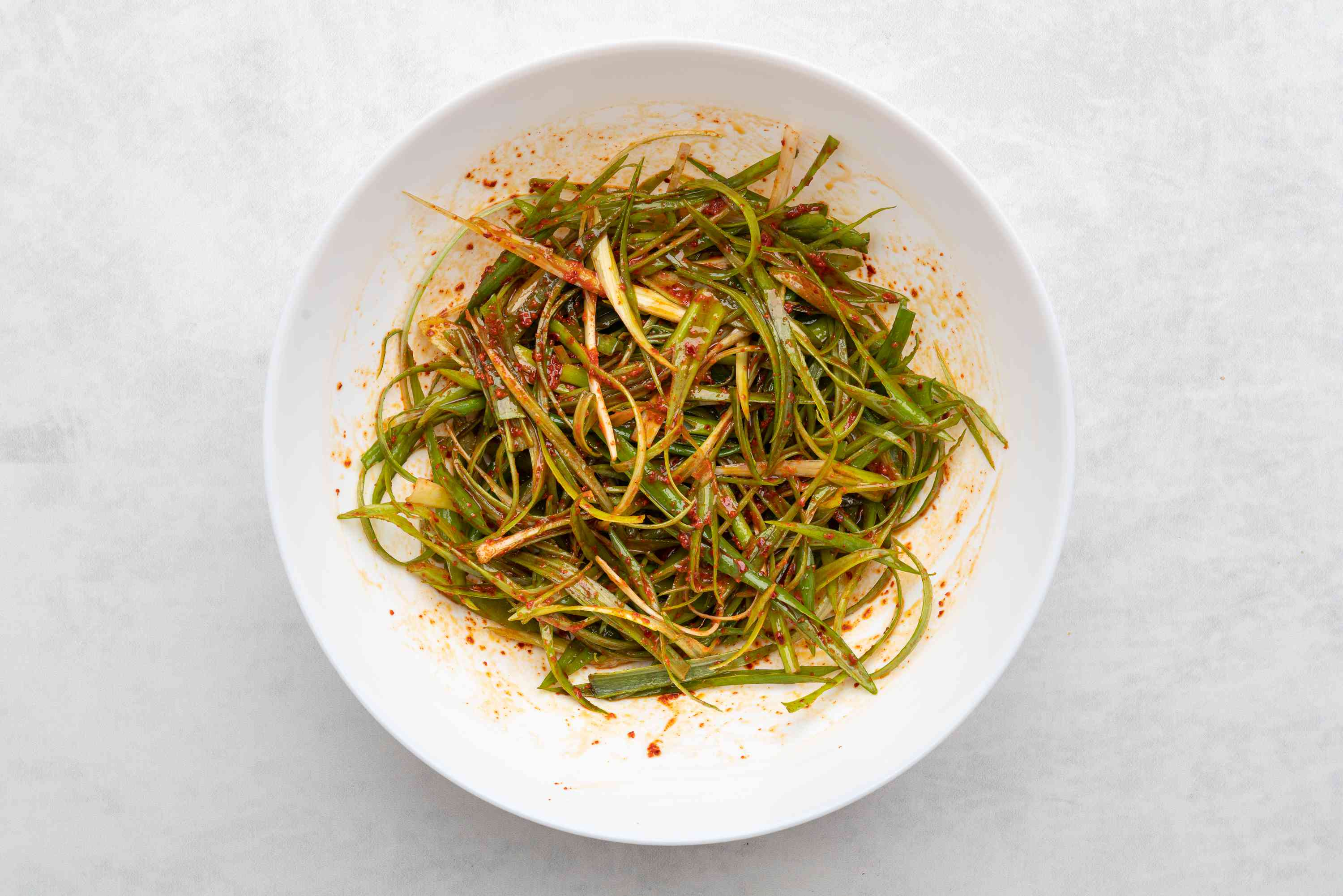 scallion salad in a bowl