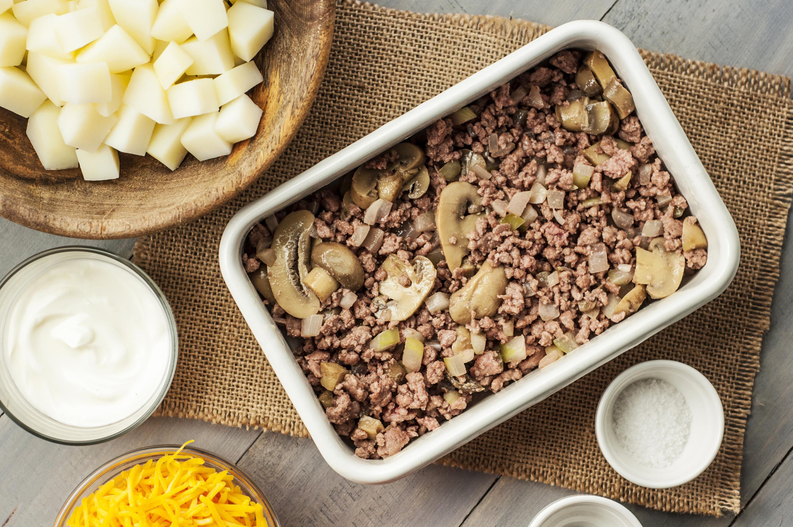 Ground beef and mushrooms in a casserole