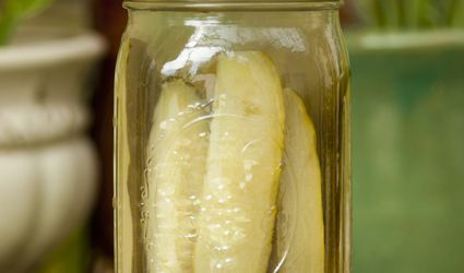 Homemade dill pickles in a jar