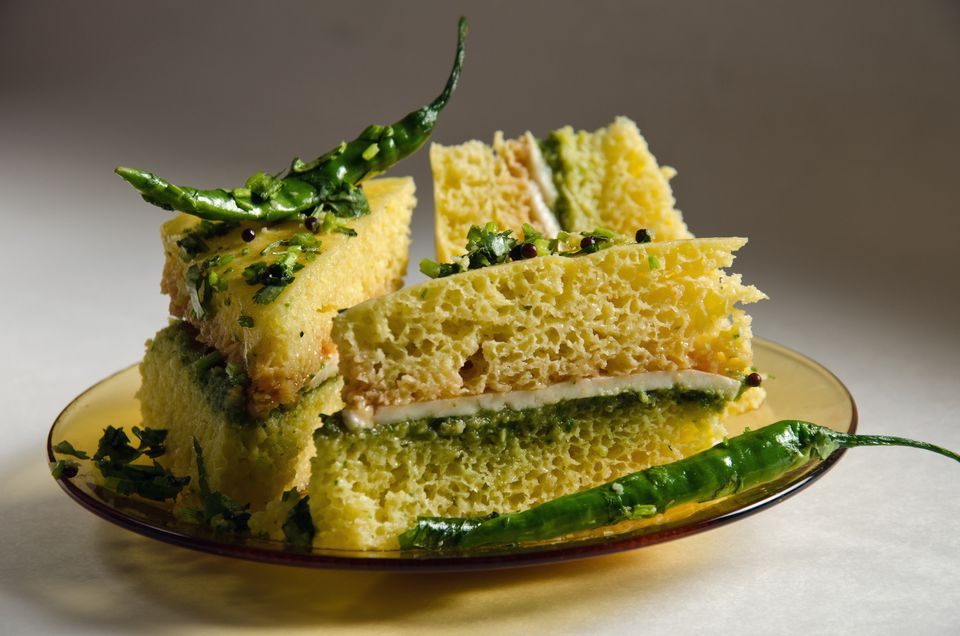 Paneer Dhokla Sandwich with green chillies