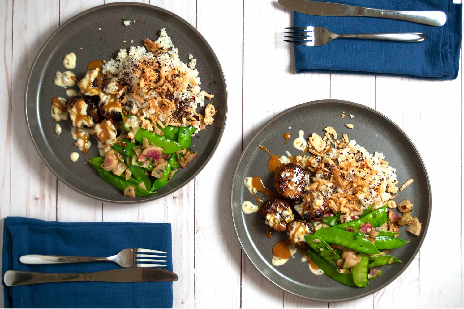Blue Apron two meals on plates