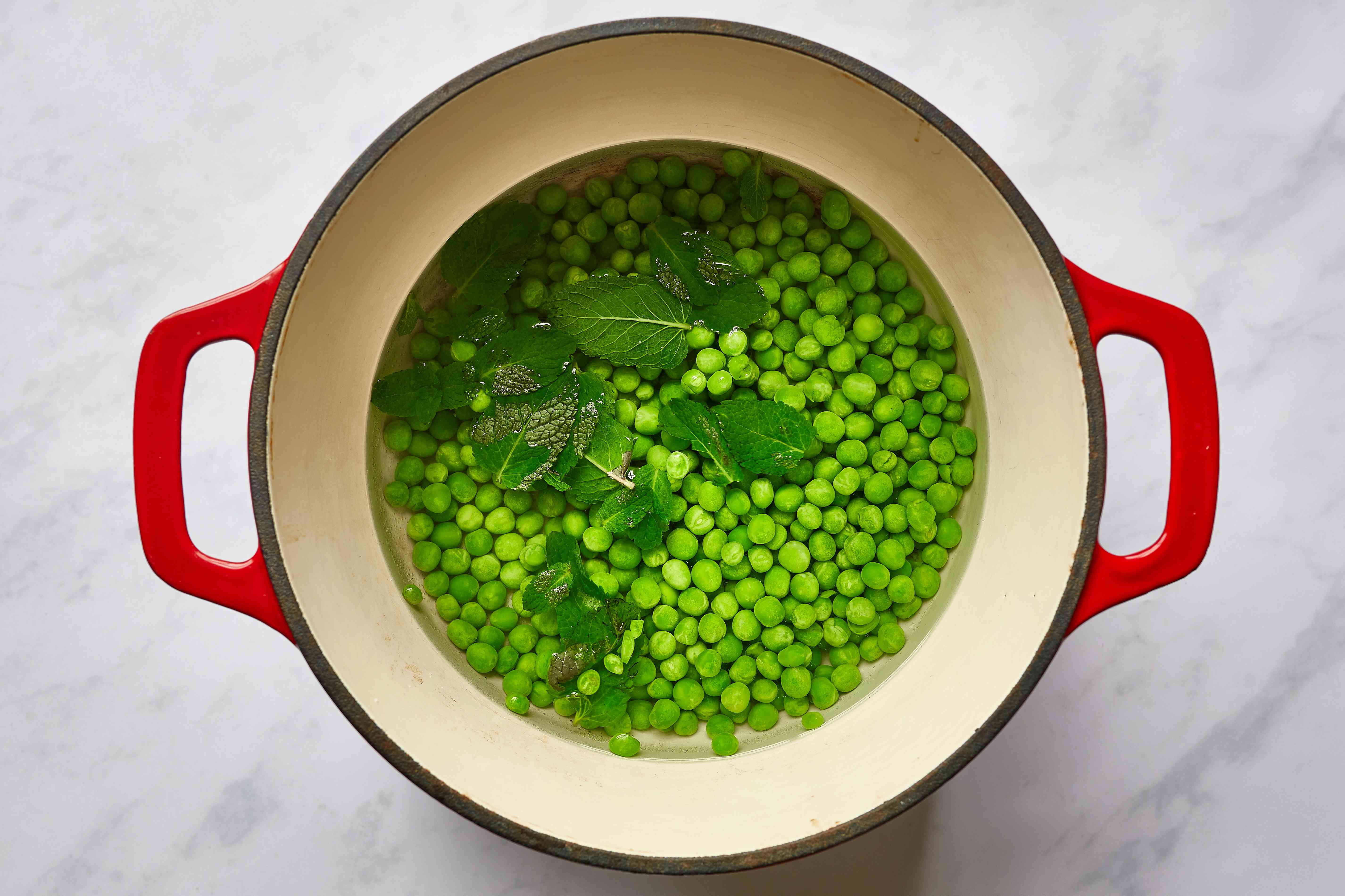 peas, fresh mint, and a pinch of salt in a pot