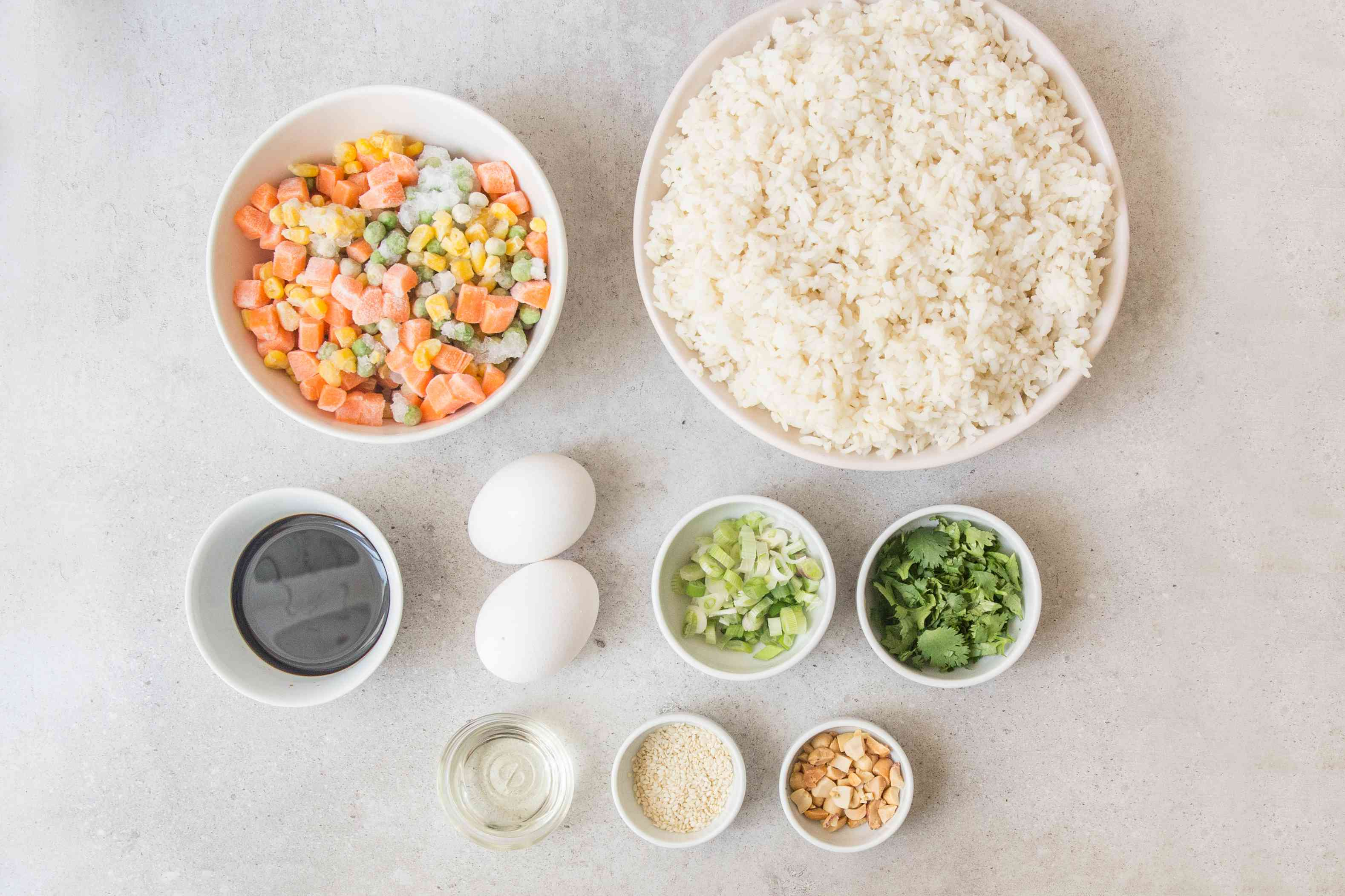 Ingredients for leftovers fried rice