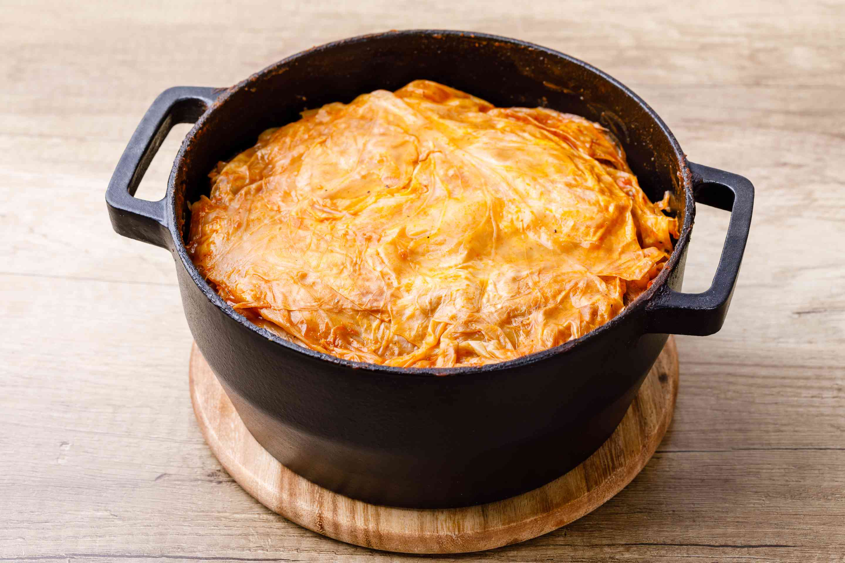 Baked cabbage rolls in a pot
