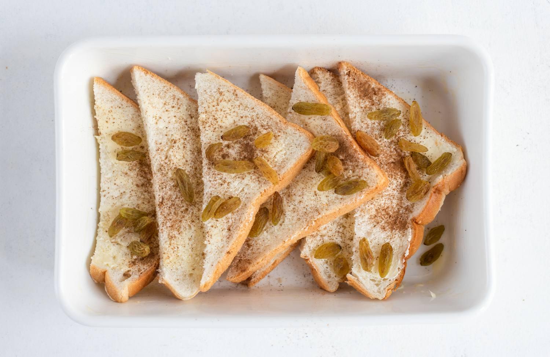 Bread slices in pudding dish