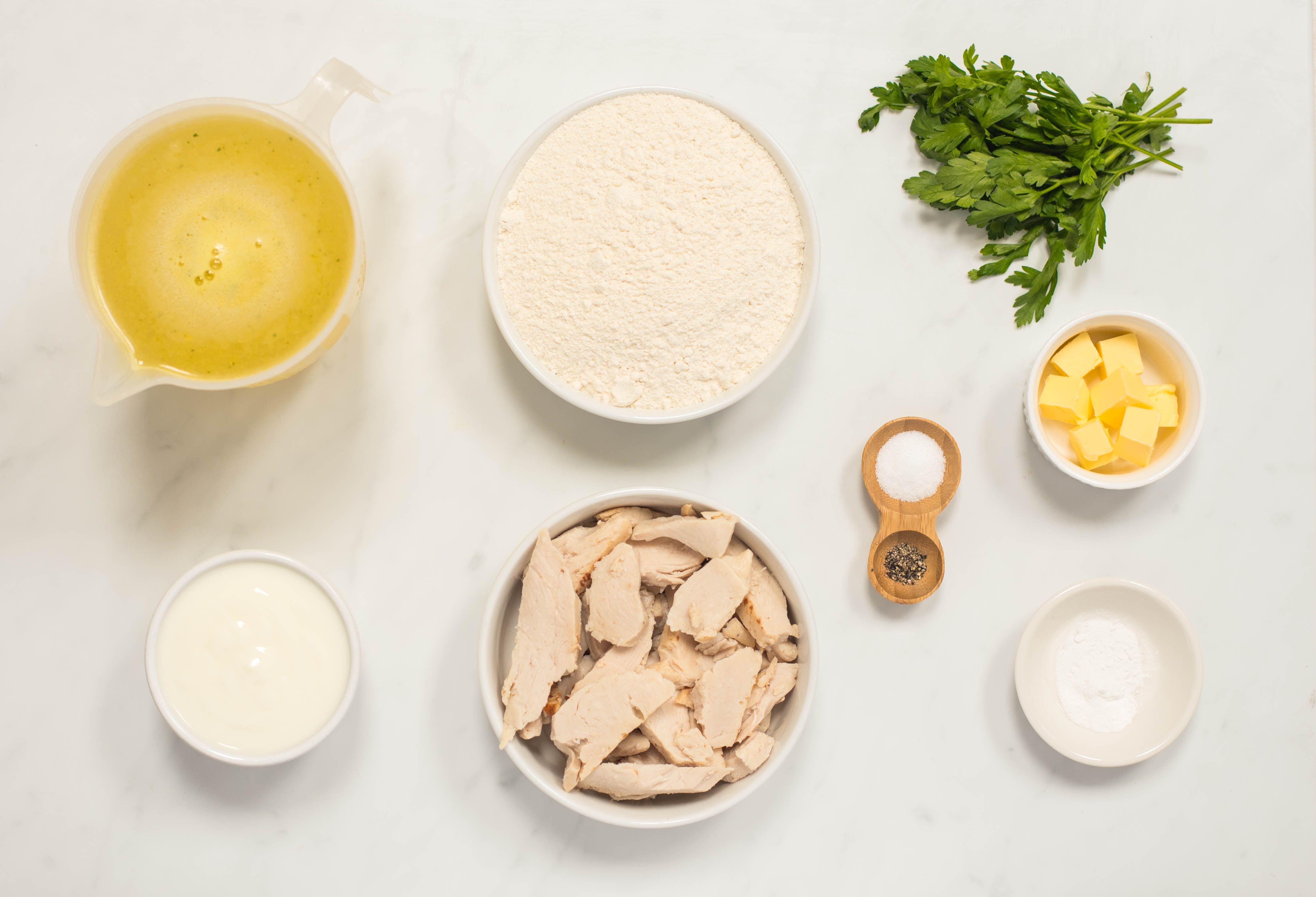 Ingredients for turkey and dumplings