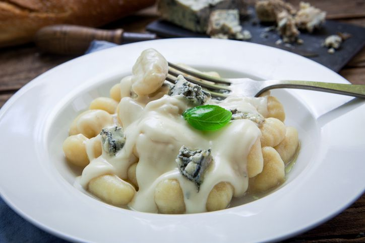 Pasta with cream sauce and Gorgonzola