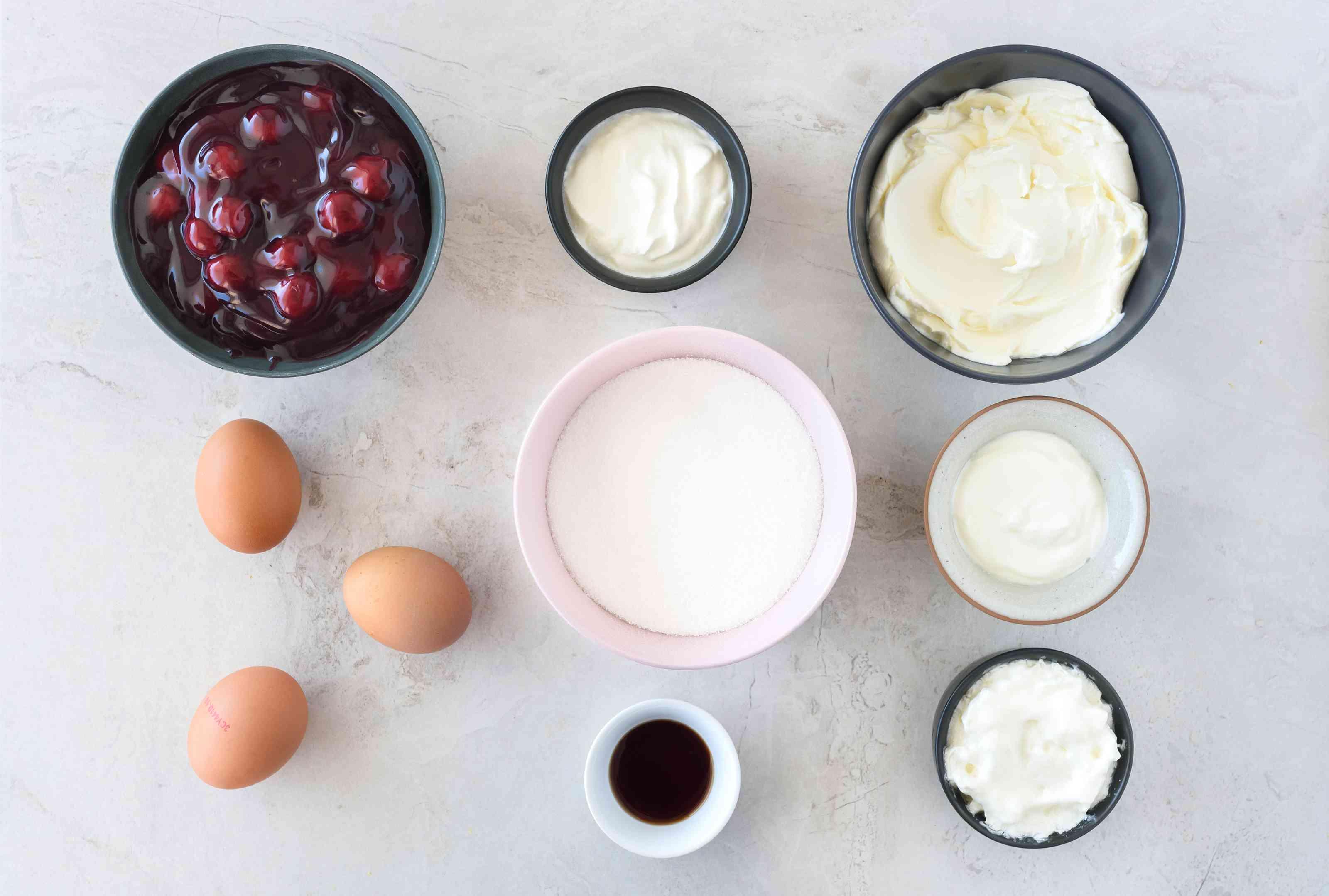 Dairy-free cherry cheesecake ingredients