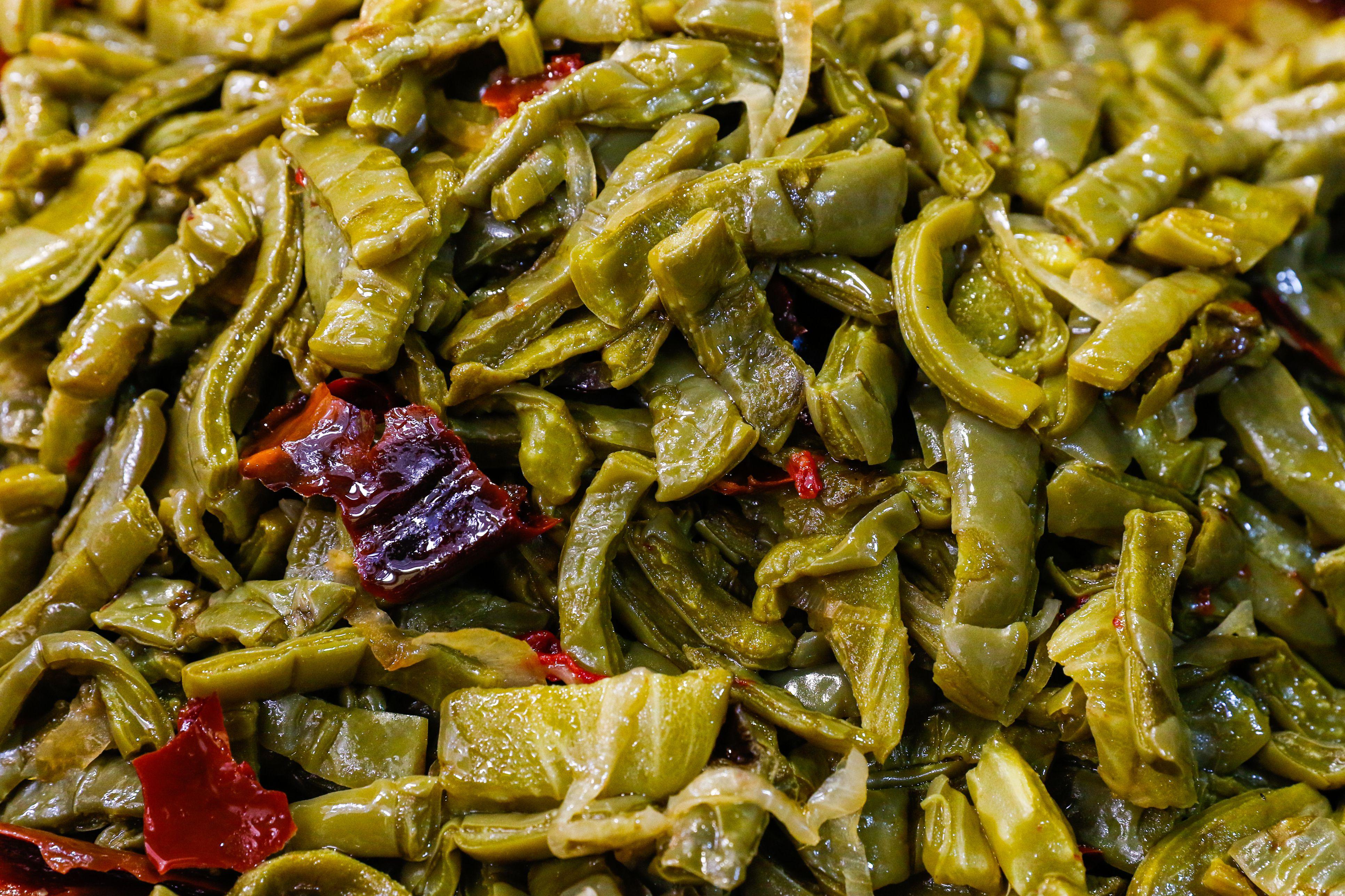 Prepared nopal cactus salad in a market in Tlalpan - Mexico City, Mexico