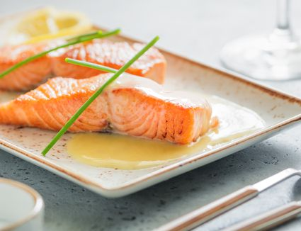 Beurre Blanc sauce on salmon