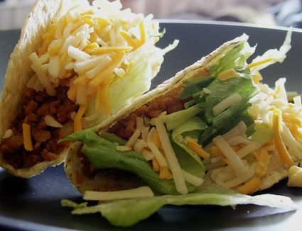 Vegetarian tacos with a TVP filling