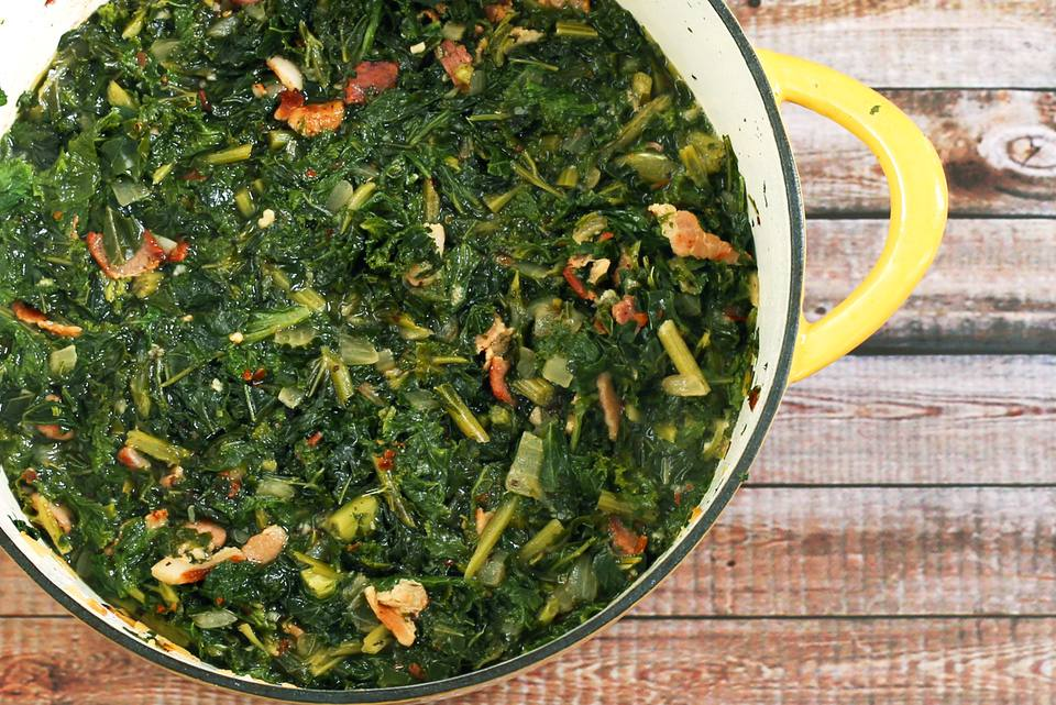 mustard greens and bacon
