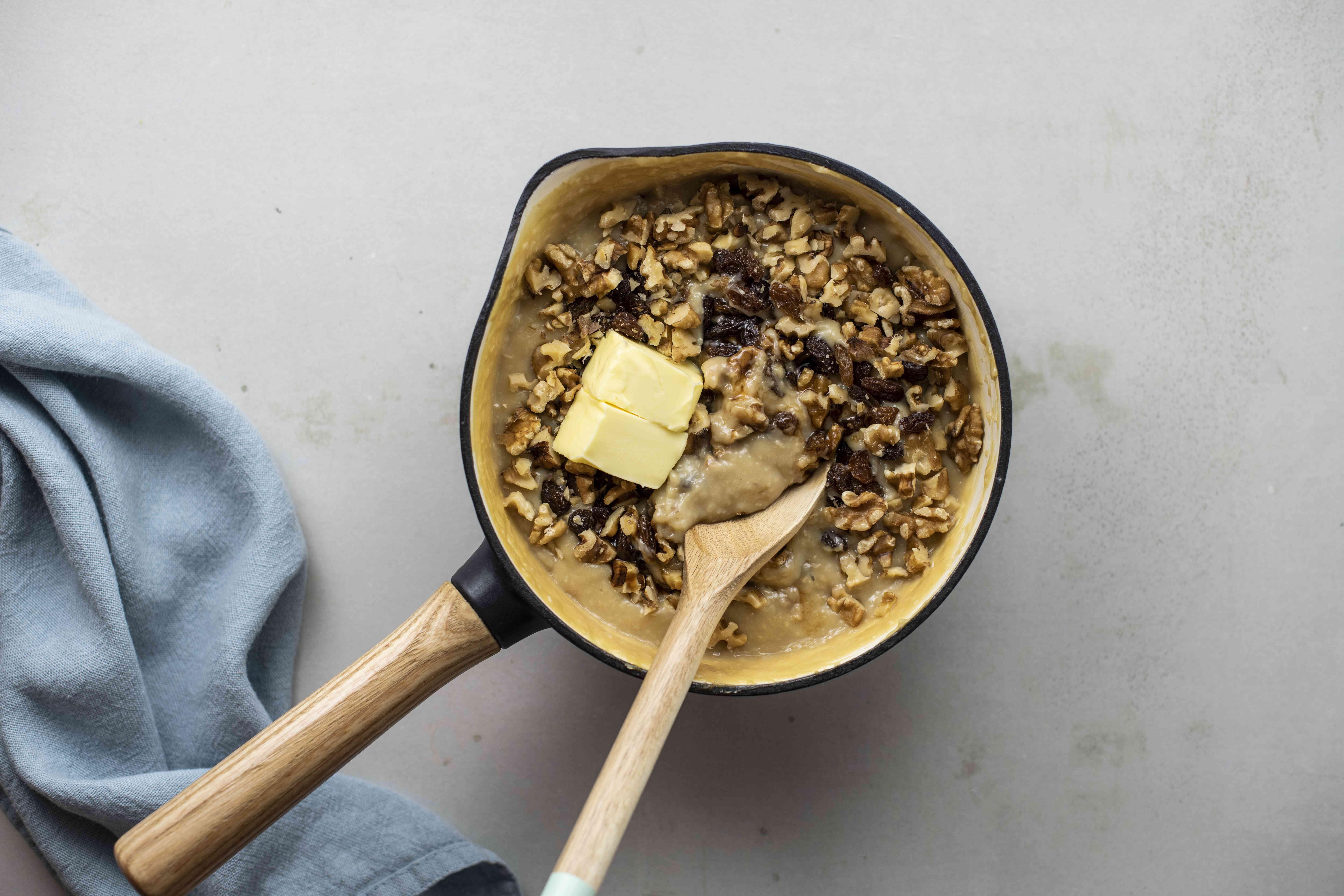 Add raisins and nuts