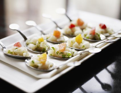 Scallop tartare, winter citrus on spoon - hors d'oeuvres