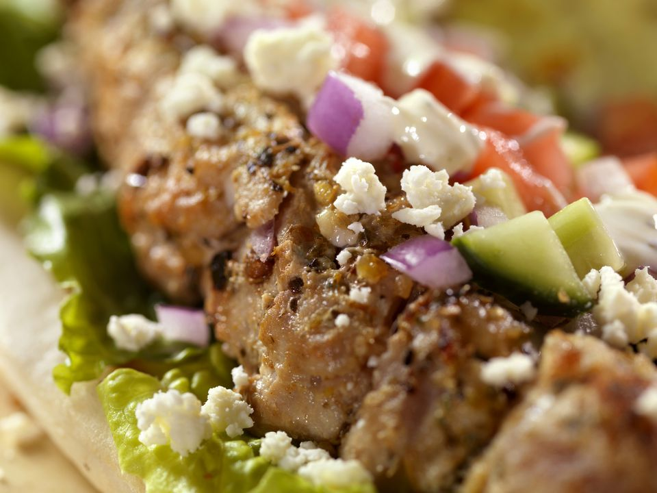 Close up image of souvlaki