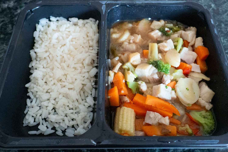 Mom's Meals prepared meal in packaging