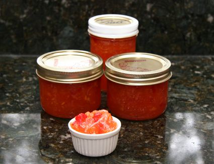 Pepper jelly in canning jars