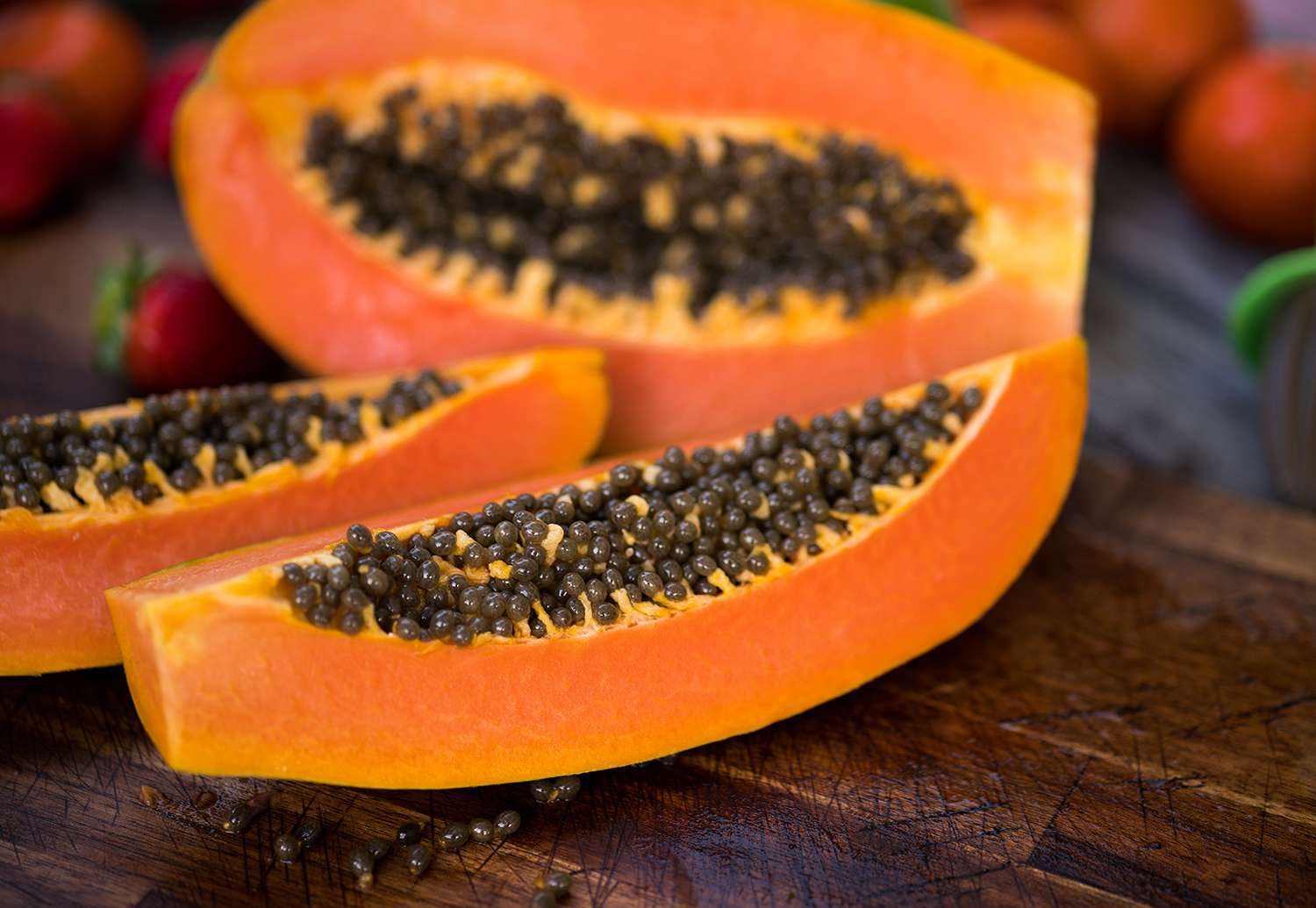 Slices of papaya with seeds